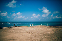 Point Pedro, Sri Lanka -- February 9, 2018: A man looks out over the sea on the northern shores of the Jaffna Peninsula.