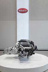 Display of Bugatti engine at Volkswagen showroom on Under den Linden in Berlin, Germany