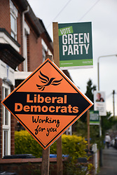 Norwich 2 days before the local elections. 2 May 2017. UK. Green Party & Liberal Democrats signs