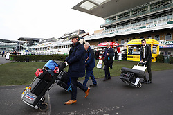 Bookies arrive with their stalls during Grand National Day of the 2018 Randox Health Grand National Festival at Aintree Racecourse, Liverpool.
