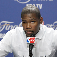 17 June 2012: Oklahoma City Thunder small forward Kevin Durant answers journalists during the press conference following the Miami Heat 91-85 victory over the Oklahoma City Thunder, in Game 3 of the 2012 NBA Finals, at the AmericanAirlinesArena, Miami, Florida, USA.