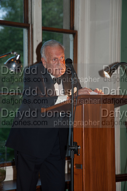 SIR JOHN RICHARDSON; , The London Library Annual  Life in Literature Award 2013 sponsored by Heywood Hill. The London Library Annual Literary dinner. London Library. St. james's Sq. London. 16 May 2013.