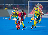 BHUBANESWAR, INDIA - Zachary Wallace  (Eng)   with Corey Weyer (Aus) , England v Australia for the bronze medal during the Odisha World Cup Hockey for men  in the Kalinga Stadion.   COPYRIGHT KOEN SUYK