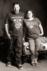 Jake and Ginger Martin riding their 1941 Harley-Davidson FL Knucklehead with a sidecar in the Cross Country Chase motorcycle endurance run from Sault Sainte Marie, MI to Key West, FL (for vintage bikes from 1930-1948). Photographed at the end of Stage 4 from Urbana, IL to Bowling Green, KY. USA. Monday, September 9, 2019. Photography ©2019 Michael Lichter.