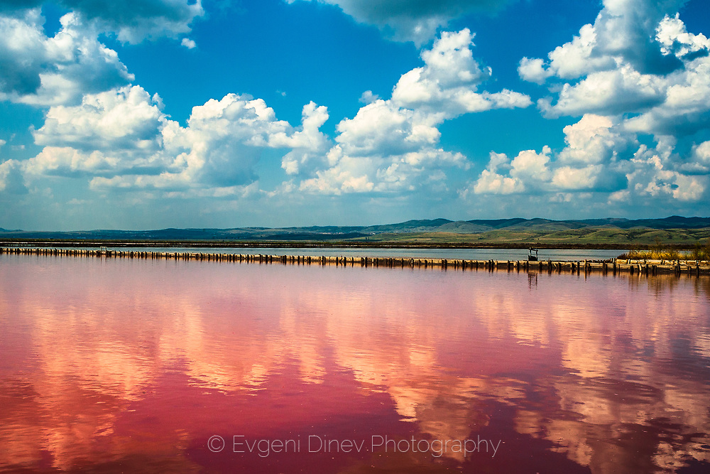 Lake with unusual red water