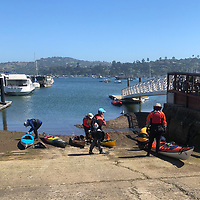 Launching our kayaks at the Sausalito public boat ramp.