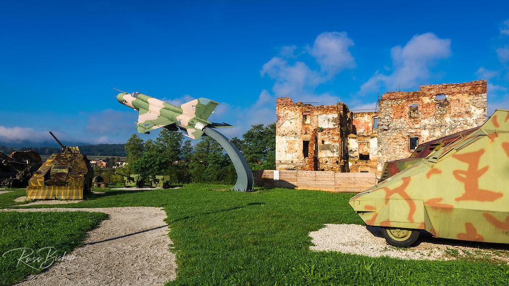 War memorial and bombed building, Karlovac, Croatia