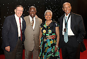 ATLANTA, GA - MAY 14:  (From left to right) Major League Baseball Commissioner Bud Selig, Hall of Famer Hank Aaron, Billye Aaron and Beacon Award winner Ernie Banks gather after the Beacon Awards Banquet at the Omni Hotel on May 14, 2011 in Atlanta, Georgia.  (Photo by Mike Zarrilli/Getty Images)
