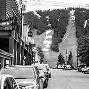 A view down King Street in Jackson towards Snow King Ski Area.