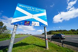 Scottish Borders, Scotland, UK. 11 May 2021. Images from Scotland-England border crossings in the Scottish Borders today. A hard border with England is likely if Scotland should vote to break with the UK. Following the Scottish parliamentary election where the SNP failed to achieve a majority in the Scottish Parliament, the issue of Scottish independence is once again back in the news. Pic; Scottish border on the A1 at Lamberton north of Berwick-upon-Tweed. Iain Masterton/Alamy Live News