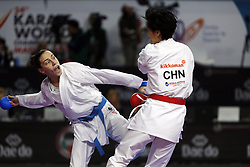 November 10, 2018 - Madrid, Madrid, Spain - Chinese karateka Xiaoyan Yin (L) seen fighting with Serbian karateka Jovana Prekovic to competes for the Gold Medal during the Kumite female -61kg final competition of the 24th Karate World Championships at the WiZink centre in Madrid. (Credit Image: © Manu Reino/SOPA Images via ZUMA Wire)