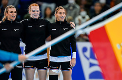 15-12-2019 JAP: Final Netherlands - Spain, Kumamoto<br /> The Netherlands beat Spain in the final and take historic gold in Park Dome at 24th IHF Women's Handball World Championship / Tess Wester #33 of Netherlands, Dione Housheer #27 of Netherlands, Estavana Polman #79 of Netherlands