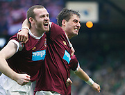 William Hill Scottish FA Cup Semi Final CELTIC FC v HEART OF MIDLOTHIAN FC Season 2011-12.15-04-12...RUDI SKACEL OF HEARTS CELEBRATES PUTTING HEARTS 1-0 UP  WITH CRAIG BEATIE during the William Hill Scottish FA Cup Semi Final tie between CELTIC FC and HEART OF MIDLOTHIAN FC with the Winner facing   in this years Scottish Cup Final in May...At Hampden Park Stadium , Glasgow..Sunday 15th April 2012.Picture Mark Davison/ Prolens Photo Agency / PLPA