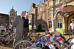 © Licensed to London News Pictures. 06/10/2012  HRH The Duke of Edinburgh met 30 disabled British and US serving and veteran service personnel outside his Sandringham Home in Norfolk today to launch the Soldier Ride UK Challenge in aid of Wounded Warrior Project, BLESMA - the limbless veterans and ABF The Soldiers' Charity. The riders departed from Sandringham Estate to follow the Norfolk, Suffolk and Essex coast all the way to the finish line in London on Thursday 11th October.  Riders are using modified bikes, hand cycles and standard road bikes, depending on their needs. Photo credit : Rob Leyland LNP
