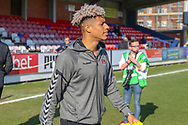Charlton Athletic attacker Lyle Taylor (9) arriiving during the EFL Sky Bet League 1 match between AFC Wimbledon and Charlton Athletic at the Cherry Red Records Stadium, Kingston, England on 23 February 2019.