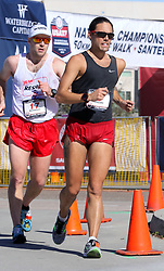 January 26, 2019 - Oceanside, California, United States - January 26, 2019, Santee, California_USA_2019 USATF 50km Race Walk Championships_| Men's national winner Matthew Forgues, of Chula Vista, rounds a turn during his victory. At left is Michael Mannozzi, of Toronto, Canada. |_Photo Credit: Photo by Charlie Neuman (Credit Image: © Charlie Neuman/ZUMA Wire)