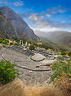 Ancient Greek Theatre of Delphi, Delphi Archaeological site, Delphi, Greece .<br /> <br /> If you prefer to buy from our ALAMY PHOTO LIBRARY  Collection visit : https://www.alamy.com/portfolio/paul-williams-funkystock/delphi-site-greece.html  to refine search type subject etc into the LOWER SEARCH WITHIN GALLERY.<br /> <br /> Visit our ANCIENT GREEKS PHOTO COLLECTIONS for more photos to download or buy as wall art prints https://funkystock.photoshelter.com/gallery-collection/Ancient-Greeks-Art-Artefacts-Antiquities-Historic-Sites/C00004CnMmq_Xllw