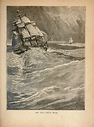 Tall ship On the High Seas  from The merchant vessel : a sailor boy's voyages to see the world [around the world] by Nordhoff, Charles, 1830-1901 engraved by C. LaPlante; some illustrations by W.L. Wyllie Publisher New York : Dodd, Mead & Co. 1884