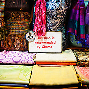 """A silk scarf store in the Spice Bazaar (also known as the Egyption Bazaar) in Istanbul, Turkey, displays a sign saying """"This shop is recommended by Obama"""" in an effort to lure tourists."""