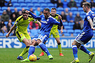 Cardiff City's Kenneth Zohore (26) shoots at goal whilst being challenged by Rotherham's Richard Wood (l). EFL Skybet championship match, Cardiff city v Rotherham Utd at the Cardiff city stadium in Cardiff, South Wales on Saturday 18th February 2017.<br /> pic by Carl Robertson, Andrew Orchard sports photography.