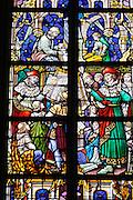 Glasfenster, Stiftskirche St. Waltrudis, Inneres, Mons, Hennegau, Wallonie, Belgien, Europa   stained-glass window, interior of abbey church Saint Waltrude, Mons, Hennegau, Wallonie, Belgium, Europe
