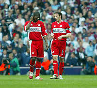 Photo: Chris Ratcliffe.<br /> Middlesbrough v West Ham United. The FA Cup, Semi-Final. 23/04/2006.<br /> Gutted Middlesbrough players George Boateng and Gareth Southgate.