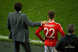 CARDIFF, WALES - Monday, October 9, 2017: Wales' manager Chris Coleman reacts with Ben Woodburn during the 2018 FIFA World Cup Qualifying Group D match between Wales and Republic of Ireland at the Cardiff City Stadium. (Pic by Peter Powell/Propaganda)