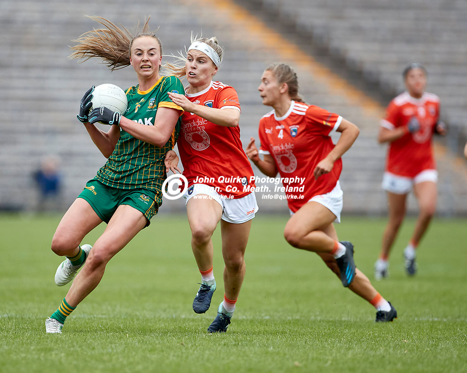 01-08-21, All Ireland Ladies SFC quarterfinal at Clones<br /> Meath v Armagh<br /> Aoibhin Cleary (Meath) and Lauren McConville (Armagh)<br /> Photo: David Mullen / www.quirke.ie ©John Quirke Photography, Proudstown Road Navan. Co. Meath. 046-9079044 / 087-2579454.<br /> ISO: 400; Shutter: 1/1250; Aperture: 4.5;