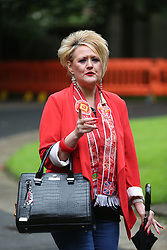 © Licensed to London News Pictures. 09/08/2017. Warrington, UK. Louise Brookes who's brother Andrew died at Hillsborough arrives at Warrington magistrates court. Norman Bettison, Donald Denton, Peter Metcalf, Alan Foster & Graham Mackrell are appearing at Warrington Magistrates Court today to face charges relating to the Hillsborough tragedy where 96 people died in 1989. Photo credit: Andrew McCaren/LNP
