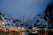 Part of the old and well preserved fishing village of Nusfjord at Flakstadöya, Lofoten, Norway in February 2013.
