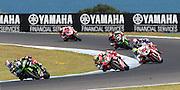 World Superbike Championship. Round 1. Phillip Island. Australia. Sunday 26.2. 2017 WSBK Motorcycle race, Motorrad-Rennen. <br /> #1 Jonathan Rea (GBR) Kawasaki Racing Team wins race 2 ahead of 7, Chaz DAVIES, GBR,   Ducati Panigale R, <br />  - fee liable image, copyright © ATP/ Damir IVKA