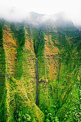 Hanakoa Falls, 1,400 feet high in total, Na Pali coast, Kauai, Hawaii, Pacific Ocean