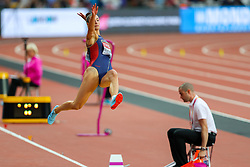 London, August 11 2017 . Ivana Španovic, Serbia, in the women's long jump final on day eight of the IAAF London 2017 world Championships at the London Stadium. © Paul Davey.
