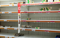 © Licensed to London News Pictures. 27/08/2021. London, UK. Empty shelves of ready-meals in Sainsbury's, north London. UK food producers and supermarkets are warning that empty shelves could continue unless the government acts to resolve the shortage of workers and lorry drivers, caused by Brexit and the coronavirus pandemic. Photo credit: Dinendra Haria/LNP