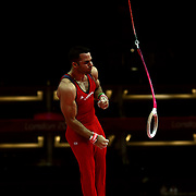 Danell Leyva, USA, performing on the rings during the Men's Artistic Gymnastics podium training at North Greenwich Arena during the London 2012 Olympic games preparation at the London Olympics. London, UK. 25th July 2012. Photo Tim Clayton