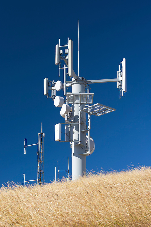 Cell phone network base station on Deer Park Heights, near Queenstown, New Zealand.