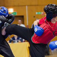 Istvan Torda (red) and Gyula Kovacs (black) fight during the 3rd International Chan Wu, Traditional Kung Fu and Wu Shu Championships in Budapest, Hungary on November 24, 2012. ATTILA VOLGYI