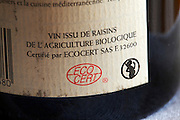 Back label: organically grown gapes, pregnant woman warning, ecocert certification
