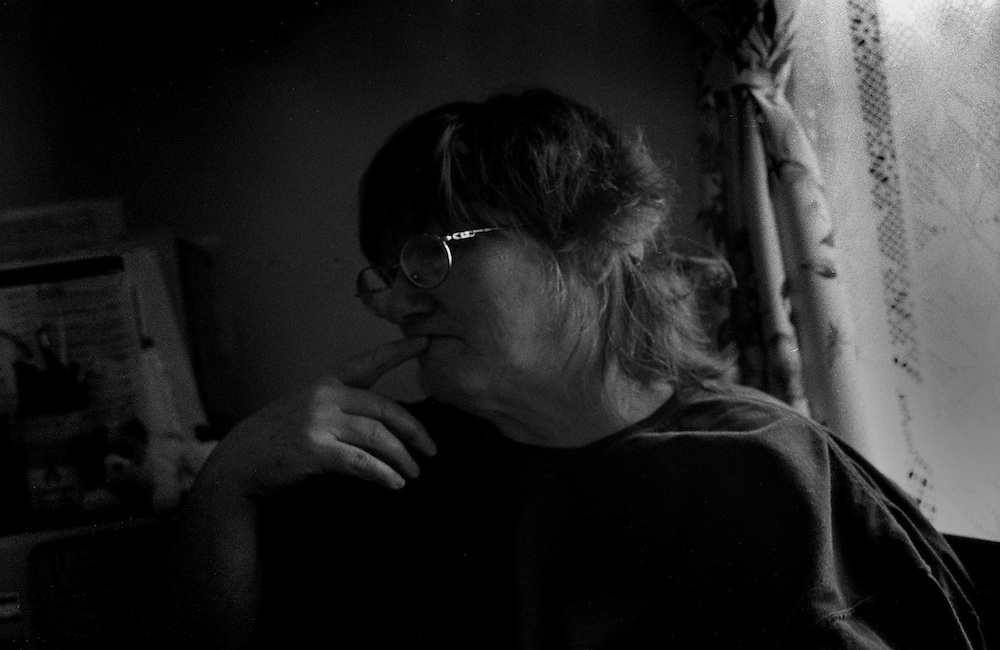 Meri, a mother of two who became homeless when her husband left her without a home or job, in her transitional apartment in Sand Point. She has little contact with her son, a homeless addict, who blames his mother and father for his poor upbringing.