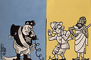 Abyssinia (Ethiopia) under threat from Italy. Mussolini, Italian Fascist dictator shouting down the telephone  On 9 May 1936 Mussolini was able to announce that Italy had an empire. Italian propaganda postcard. Cartoon from 'Le Canard en chaine', Paris, 1936.