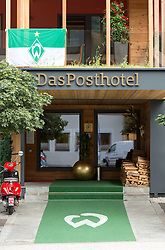 27.07.2016, Parkstadion, Zell am Ziller, AUT, Trainingslager, SV Werder Bremen, im Bild der Eingang des Posthotel, welches das Team während des Trainingslagers beherbergt // during the Preparation Camp of the German Bundesliga Club SV Werder Bremn at the Parkstadion in Zell am Ziller, Austria on 2016/07/27. EXPA Pictures © 2016, PhotoCredit: EXPA/ Jakob Gruber