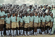 Children in school uniform attending celebration in The Gambia, Africa