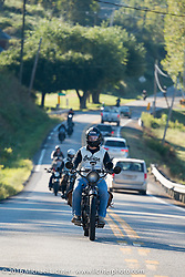 Justin Rinker of Illinois riding his 1916 Indian at the head of a pack of 100-year old bikes during the Justin Rinker of Illinois on his 1916 Indian during the Motorcycle Cannonball Race of the Century. Stage-3 from Morgantown, WV to Chillicothe, OH. USA. Monday September 12, 2016. Photography ©2016 Michael Lichter.