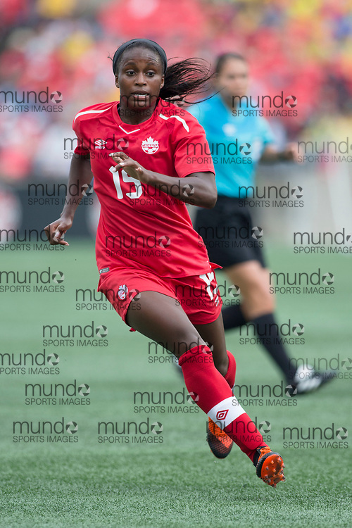 OTTAWA, ON - September 2: Nichelle Prince (15 -- F) of Canada in an international FIFA women's friendly soccer match between Canada and Brazil at TD Place Stadium in Ottawa, Canada, September 2, 2018. Canada defeated Brazil 1-0. (Photo by Sean Burges/Mundo Sport Images)