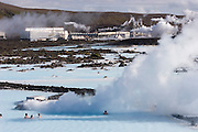 ICE.05BluLag.15.xrw..Blue Lagoon hot springs spa complex near Reykjavik, Iceland. The sulfurous electric-blue hot water is the byproduct of a geothermal electrical generating plant..