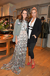 Left to right, ROSANNA FALCONER and AMBER LE BON at a party to celebrate the launch of Matthew Williamson: Fashion, Print and Colouring Book held at Anthropologie, 158 Regent Street, London on 8th September 2016.