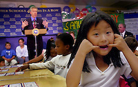 California Governor Gray Davis announced the states standardized test results during a news conference at Samuel Kennedy Elementary School in Elk Grove, Thursday Aug. 29, 2002.