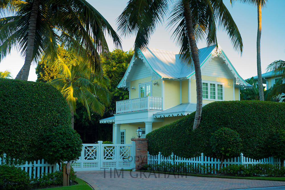 Luxury, stylish, winter home with sundeck and palm trees on Captiva Island in Florida, USA