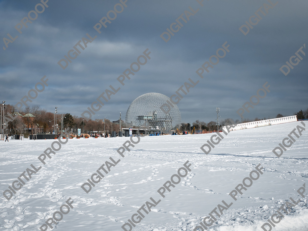 January 09, 2021 - View of Biosphere Environment Museum of Montreal in Jean Drapeau Park in a winter day