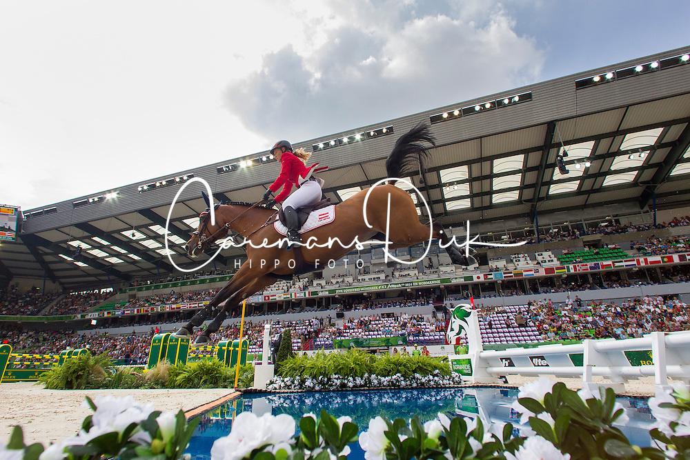 Stefanie Bistan, (AUT), Bogegaardens Apollonia - World Champions, - Second Round Team Competition - Alltech FEI World Equestrian Games™ 2014 - Normandy, France.<br /> © Hippo Foto Team - Leanjo De Koster<br /> 25/06/14